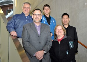 From left, Bob Rogers, CEO and Executive Director of the Canadian Hemochromatosis Society; Prof. Gary Grewal, School of Computer Science; Ryan Pattison; Prof. Deborah Stacey, associate dean (research), College of Physical and Engineering Science; and Jiexin (Frank) Liu.